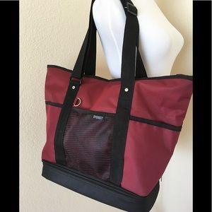 Large tote travel bag dark red wine shoulder bag